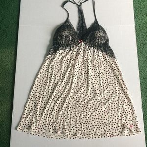 Victoria's Secret black lace hearts sleep chemise